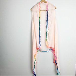 Rainbow Colorful Pom Pom Pink Kimono